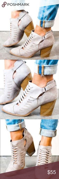 JESSLYN Chic Bootie - GREY Faux leather über comfy bootie.  TRUE COLOR PIC 4  NO TRADE  PRICE FIRM Shoes Ankle Boots & Booties