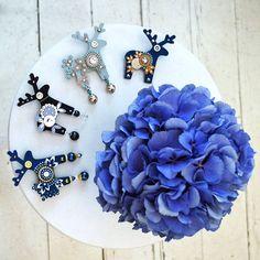 Blue deer broches - Jelení šperky made in Czech republic