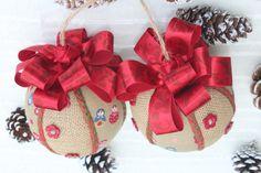 Set of 2 Christmas Handmade Hanging Ornaments, Handcrafted Baubles with Babushka Doll, Matreshka Balls for Christmas Tree Handmade Ornaments, Handmade Christmas, Handmade Items, Christmas Balls, Christmas Ornaments, Unique Gifts, Best Gifts, Cool Gifts For Kids, Burlap Fabric