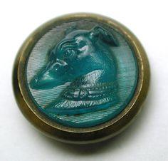 Antique Glass in Metal Button Aqua Blue Whippet Dog Head Design in Brass  200