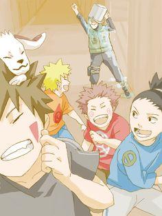 Naruto, Kiba/Akamaru, Shikamaru, Choji playing a prank on Iruka...how am I not surprised? #naruto