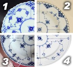 Royal Copenhagen patterns: Fluted Full Lace (scalloped edge and pierced holes), Fluted Open Lace (plain edge and pierced holes), Fluted Half Lace (plain edge w/ blue paint to depict the pierced holes), Blue Fluted Plain (plain edge, no decoration) Royal Copenhagen, Blue Dishes, White Dishes, Blue And White China, Blue China, China China, Books And Tea, Blue And White Dinnerware, China Porcelain