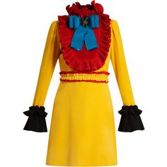 Gucci Ruffle-trimmed velvet mini dress ($5,100) ❤ liked on Polyvore featuring dresses, yellow multi, ruffle cocktail dress, short dresses, ruffle dress, high neck dress and mini dress