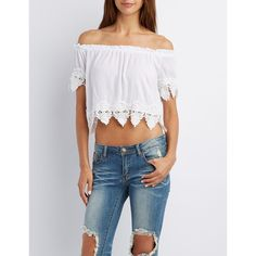 Charlotte Russe Crochet-Trim Off-the-Shoulder Crop Top ($22) ❤ liked on Polyvore featuring tops, white, white cold shoulder top, short sleeve tops, white short sleeve top, cut out shoulder top and off the shoulder short sleeve tops