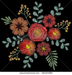 Embroidery stitches with wildflowers, spring flowers, grass, branches in pastel color. Vector fashion ornament on black background for fabric traditional folk floral decoration.