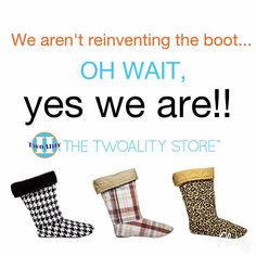 Functional and fashionable: TwoAlity has reinvented the boot! www.thetwoalitystore.com  #ClearBoots #InterchangeableLiners #MadeintheUSA #BootsByTwoAlity #Trend #Style