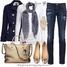 Blue and gold. I love navy. That metallic bag is an eye catcher:)