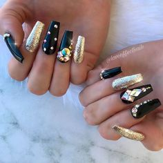 Gothic Gold and Black Glitter Ombre Coffin Nails ❤ 35+ Magnificent Coffin Nails Designs You Must Try ❤ See more ideas on our blog!! #naildesignsjournal #nails #nailart #naildesigns #nailshapes #coffinnails #balerinanails #coffinnailshapes