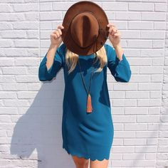 B L U E  Scalloped Shift Dress $44. Wool Panama Hat $38.  #scallops #blue #shift #elysianlove http://ift.tt/1O7cReo  B L U E  Scalloped Shift Dress $44. Wool Panama Hat $38.  #scallops #blue #shift #elysianlove