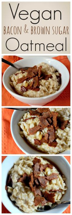 Housevegan.com: Vegan Bacon and Brown Sugar Oatmeal - This oatmeal tastes exactly like you would imagine. It's sweet from the brown sugar, salty and smokey from the bacony seitan and, thanks to the drizzle of maple syrup, comforting and homey <3