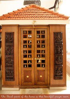Wood Design Ideas: Latest Pooja Room Door Frame And Door Design Gallery Wooden Main Door Design, Front Door Design, Wood Design, Temple Design For Home, Mandir Design, Pooja Room Door Design, Puja Room, Traditional Doors, Bungalow House Design