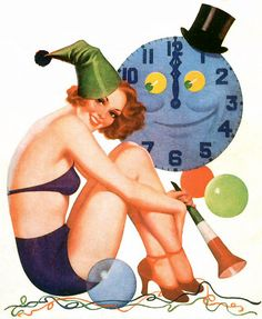Earle Bergey    In celebration of the new year, this painting appeared on the cover of Snappy magazine in January 1938. May your New Year be as pleasant as this painting.