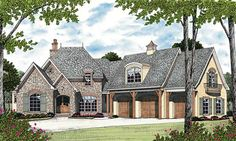 Eplans European House Plan - Four Bedroom European - 5642 Square Feet and 4 Bedr. - House Plans, Home Plan Designs, Floor Plans and Blueprints Mountain House Plans, Family House Plans, Best House Plans, House Floor Plans, Courtyard Entry, Courtyard House Plans, Floor Plan Drawing, European House, European Style