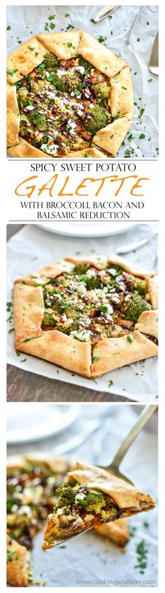 Spicy Sweet Potato Galette with Broccoli, Bacon and Balsamic Reduction   www.cookingandbeer.com   @jalanesulia