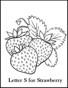Free Coloring Pages Fruit Coloring Pages, Coloring Pages For Girls, Coloring Book Pages, Printable Coloring Pages, Embroidery Stitches, Hand Embroidery, Embroidery Designs, Strawberry Color, Strawberry Drawing