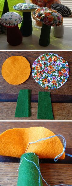 Use Felt Scraps to Make Cutesy Mushroom | 22 Easy Fall Crafts for Kids to Make | Fun Fall Crafts for Kids to Make