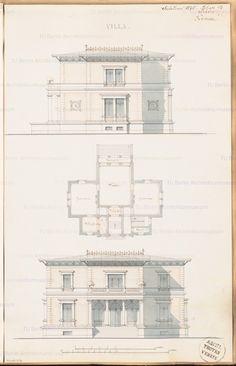 Grundriss Erdgeschoss Aufriss Vorderansicht, Seitenansicht; 2 Maßstabsleisten, Aufbewahrung/Standort: