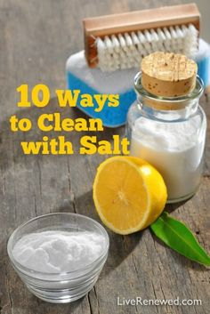 Even though I've been using natural and homemade cleaners for over 8 years, I had been neglecting this super effective and affordable natural cleaner hiding right in my cabinet! Here are 10 Ways to Clean with Salt all around your home!