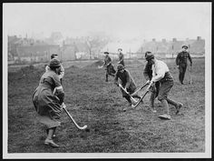 "Context:  RLS Haig ""Official Photographs"" > David McClellan  Page:L.494  Title:Hockey  Permanent URL:digital.nls.uk/74548620  Description:Members of the Women's Army Auxiliary Corps, playing hockey, France. This action photograph is believed to be the work of David McLellan. McLellan was one of five official war propaganda photographers to be commissioned for the Western Front. The first two were Ernest Brooks and John Warwick Brooke. This may have been a personal moment for both McLellan…"