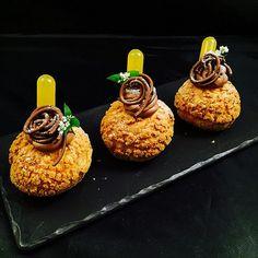 Coconut Choux, Gianduja Mousse, Gianduja Wire, Passion fruit Mojito @stregisbalharbour #bachour #BachourStyle #bachoursimplybeautiful | by Pastry Chef Antonio Bachour