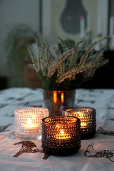 Kastehelmi on the table. Candels, Candle Lanterns, Blackberry Themes, Living Styles, Marimekko, Christmas Deco, Winter Time, My Dream Home, Home Accessories