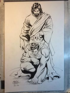 Even superheroes need a savior! I'm trying to find this print for above Brayden's bed :) Jesus Drawings, Cool Art Drawings, Pencil Drawings, Hero Wallpaper, Cartoon Wallpaper, Comic Books Art, Comic Art, Minions, Superhero Coloring