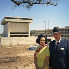 Exploring 12 Monumental U. Lyndon Baines Johnson Presidential Library and Museum. The former president and Lady Bird Johnson during a visit to the LBJ Library construction site on April American Presidents, Us Presidents, American Civil War, Presidential Libraries, Presidential Trivia, Lyndon B Johnson, Rosa Parks, University Of Texas, Native American History
