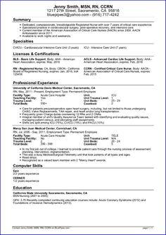 Sample Nursing Resume New Graduate Nurse Nursing And Job Stuff