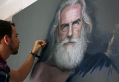Poseidon isn't just real, he's hyperreal…in this drawing at least pictures] Artist Rubén Belloso applies pastel to wood and creates a remarkable image of Poseidon… Amazing Drawings, Realistic Drawings, Art Drawings, Chalk Drawings, Realistic Paintings, Pencil Drawings, Pastel Drawing, Pastel Art, Pastel Paintings