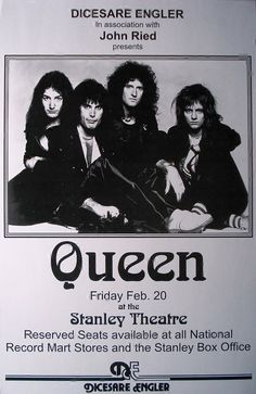 Queen A Night at the Opera Retro Art Print — Poster Size — Print of Retro Concert Poster — Features Freddy Mercury, Brian May, Roger Taylor and John Deacon. Tour Posters, Band Posters, Movie Posters, Queen Poster, Vintage Concert Posters, Queen Band, Rock Concert, Poster Size Prints, Print Poster