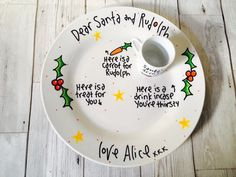 A personal favourite from my Etsy shop https://www.etsy.com/uk/listing/246570926/personalised-santa-and-rudolph-plate-and