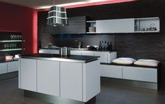 black/white kitchen with red  | Red Black White Kitchen ideas | my dream kitchen | Pinterest