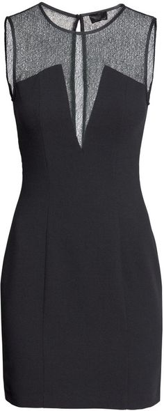 Sheer Detail Dress iN Black