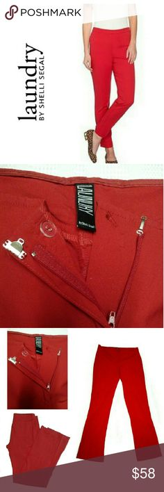 """LAUNDRY by SHELLI SEGAL - RED FRONT ZIPPER PANTS LAUNDRY by SHELLI SEGAL - RED FRONT ZIPPER CLOSING PANTS (Pic Image for Similarity) Pre-Loved & in Excellent Condition  *.  Zipper & Hook & Eye Clasp Closing *.  Measurements; Waist (flat)30"""" Inseam 30"""" Drop 8"""" *   Two Back Jean Type Pockets *.  Size 6  Has Some Stretch VERY COMFORTABLE & NICE PANTS! Laundry by Shelli Segal Pants Straight Leg"""