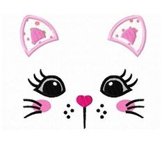 Kitty Cat Face Applique - 3 Sizes! | Dogs and Cats | Machine Embroidery Designs | SWAKembroidery.com