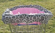 Shopping cart cover for girls in cotton candy pink by KraftKorner, $32.99
