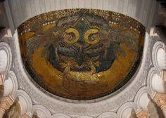 Oratoire de Germiny des Prés (Loiret) - région Centre - Mosaïque représentant l'arche d'Alliance entourée de 2 anges  - début IXème