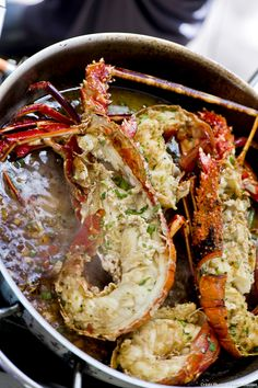 Fried lobster with anise - This delicious pan-fried lobster with anise from Chef Dina Nikolaou will satisfy all your taste exp - Food Network Recipes, Gourmet Recipes, Appetizer Recipes, Dinner Recipes, Cooking Recipes, Healthy Recipes, Healthy Snacks, Fried Lobster, Greek Menu