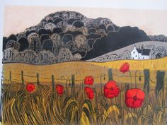 'Poppies, Cottage and Downs' by Robert Tavener, 1968 (linocut) Landscape Pictures, Landscape Paintings, Watercolor Paintings, Landscapes, Smart Art, Country Art, Naive Art, Art Graphique, Fauna