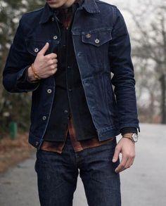 Rugged style...perfect for the fall - denim jacket, dark wash raw denim plaid flannel navy vest watch #denimjacket #rugged #rawdenim #redwings #doubledenim #flannel #selvedge #menswear #mensfashion #menstyle #MensFashionRugged