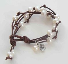 Pretty pearl and cord bracelet find glass pearls at http://www.ecrafty.com/c-595-glass-pearls.aspx