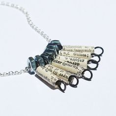 Paper Bead Jewelry- French Dictionary Paper Bead & Silver Hardware Necklace
