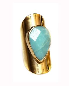 Bevel set teardrop on adjustable band - Amazonite.