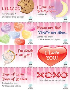 I am going to print, cut these out and put them in my daughter's lunch box the week of Valentines Day.