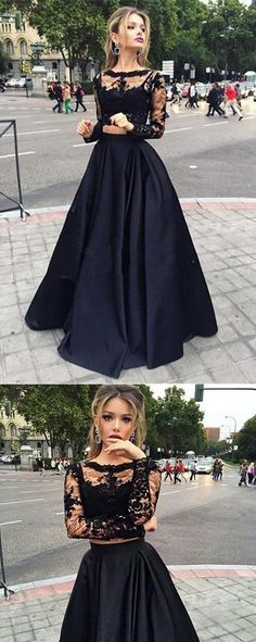 Bateau Neck Two Piece Long Sleeves Lace Evening Dress Prom Dresses PG319