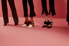 The line up of shoes with bold buckle details at Jacquemus AW17 PFW