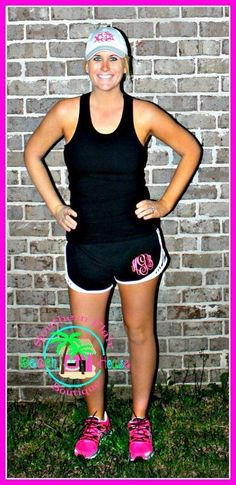 Monogram running shorts www.SouthernFlairBeachHouseBoutique.com