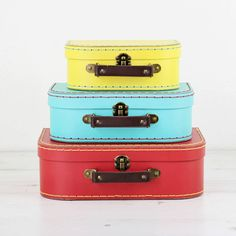 We Love To Create Set Of Three Colourful Retro Suitcase Storage Boxes (£25) ❤ liked on Polyvore featuring home, home decor, small item storage, colorful home decor and colorful storage boxes