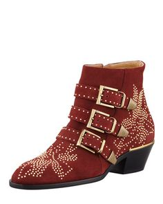 Suzanna Studded Suede Bootie, Burgundy by Chloe at Bergdorf Goodman.THESE BOOTS
