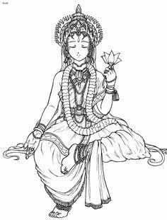 coloring + goddess   Hindu Goddess Saraswati Coloring Page